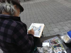 立川駅北口でスケッチ