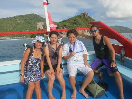タイ タオ島 ジャパニーズガーデン オープンウォーター ボート上