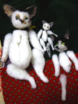 お正月の猫家族・つくりかけ
