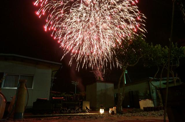 C56 129 ミニSL ライブスチームと打ちあがった綺麗な花火
