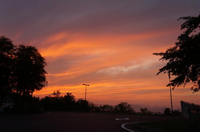 ニューグリーンピア津南でみたきれいな夕焼け