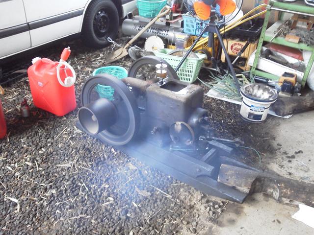 石油発動機、湿気の多い雨の日でも動くか実験