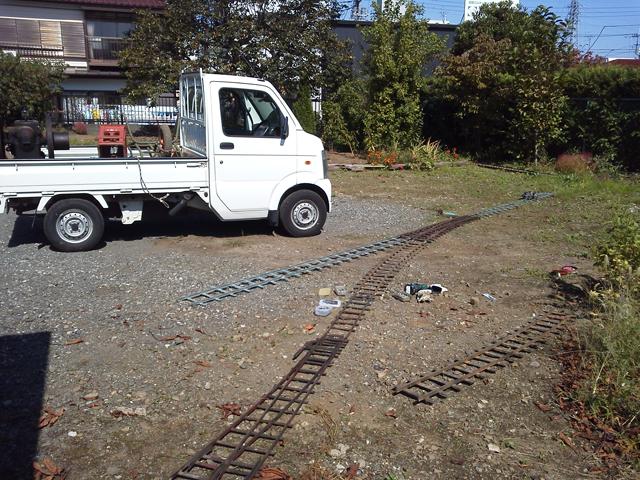 産業まつりの新しい駅付近のレールの予備試験