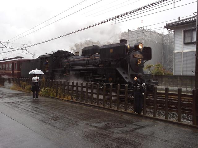 雨の中走るC58 363 パレオエクスプレス