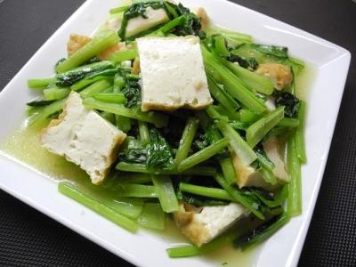20131019小松菜と厚揚げ炒め