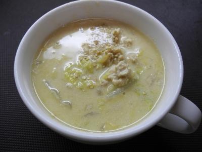 20131019白菜の豆乳ゴマスープ