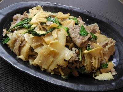 20131025筍と豚肉のバジル炒め