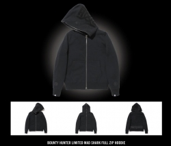 bxh limited bounty hunter mad shark full zip hoodie
