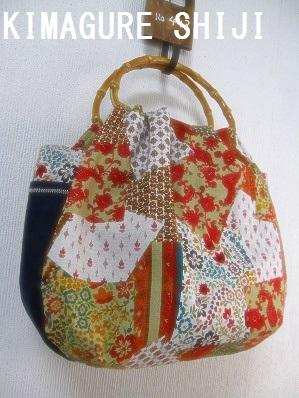 バンブーハンドルバッグ インド綿1