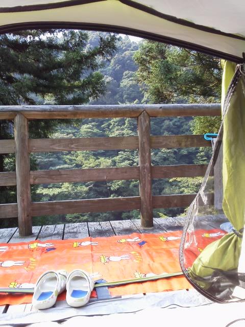 祖谷渓キャンプ村 朝テントの中から