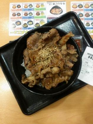 吉野家、牛カルビ丼(並)1