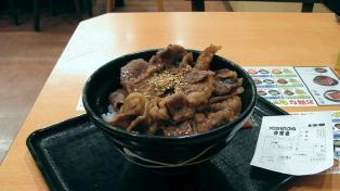 吉野家、牛カルビ丼(並)3