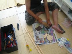 階段下収納 釣竿収納作り 1