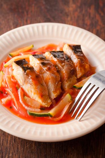 塩鯖のトマトジュース煮