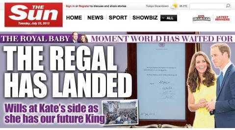 ロイヤルベビー誕生で大衆紙「SUN」は「SON」に!