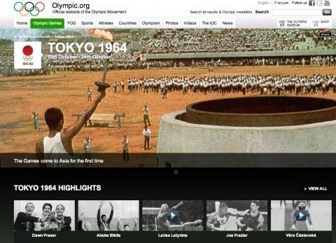 1964年のオリンピックをIOCのサイトで