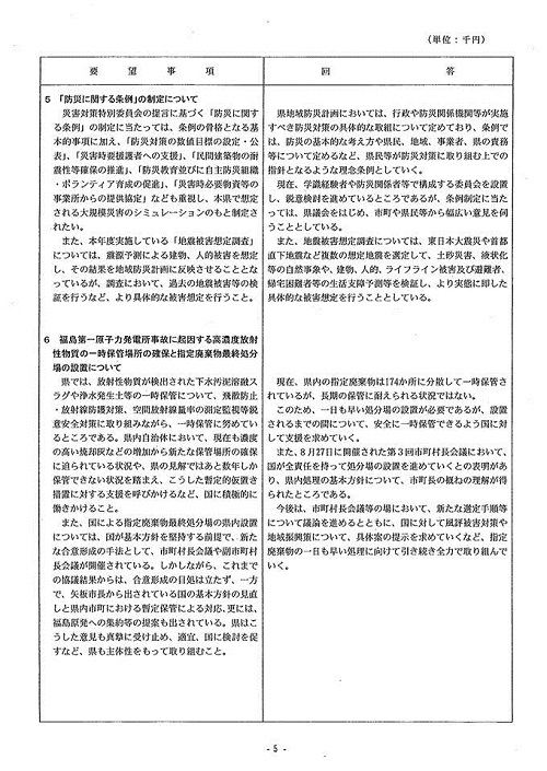 2013(平成25)年度 栃木県9月補正予算および政策推進に関する要望>ならびに<竜巻等被害に関する緊急要望>に対する回答⑦
