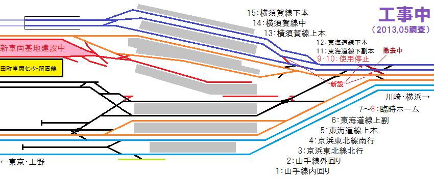2013年5月現在の品川駅の配線図