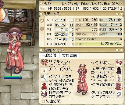 兎乃ハイプリースト最終ステ(たれバフォ+達人の槌+真紅セット+盾あり)