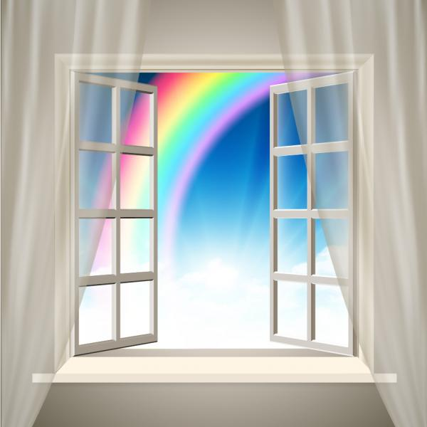 虹を望む窓 open windows with a colourful rainbow