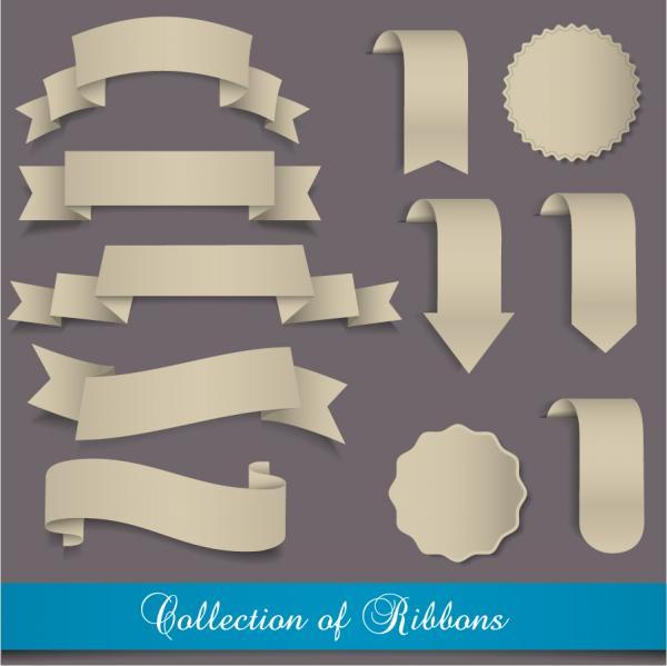 立体的な付箋 飾りリボン simplistic badge vector illustrations