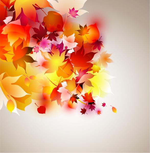紅葉した秋の葉が淡く重なる背景 Autumn Leaf Composition