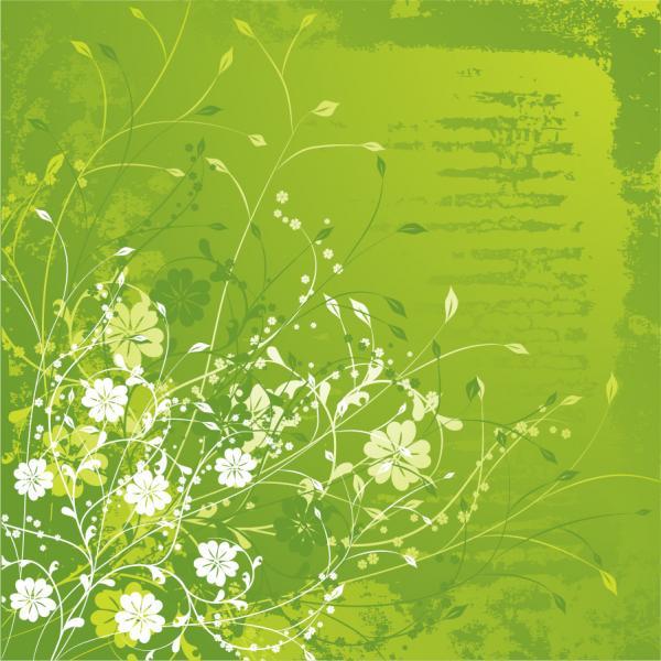 緑の植物柄背景 Floral Green Vector