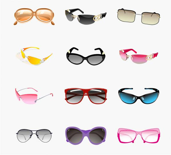 流行のサングラス Trendy Sunglasses Vector Set