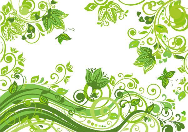 緑の植物柄背景 Abstract Floral Green Background Vector Illustration
