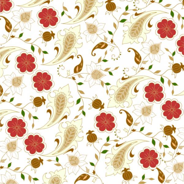 シームレスな花柄の背景 Floral Seamless Background in Retro Colors
