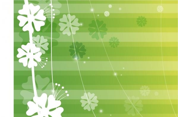 緑に白い花びらの背景 Green Background Abstract Vector Graphic