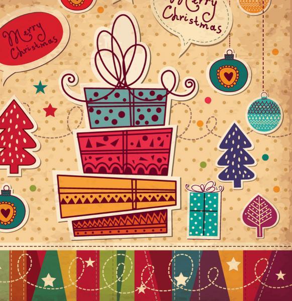 クリスマス プレゼントのカード cartoon christmas card