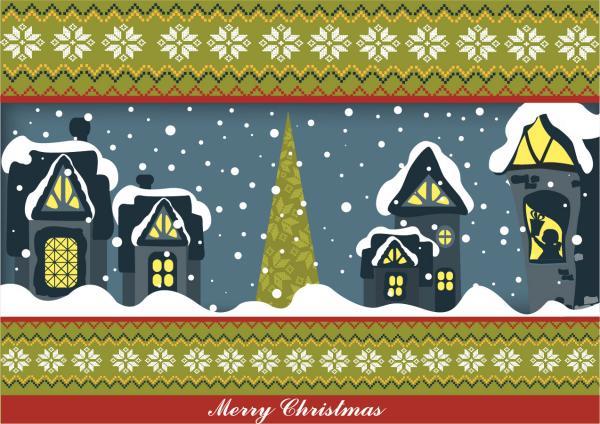 雪景色のクリスマスの夜 christmas cartoon illustrator