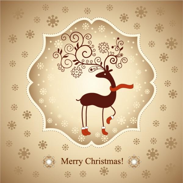 トナカイを描いた美しいクリスマスカード見本 beautiful christmas greeting card