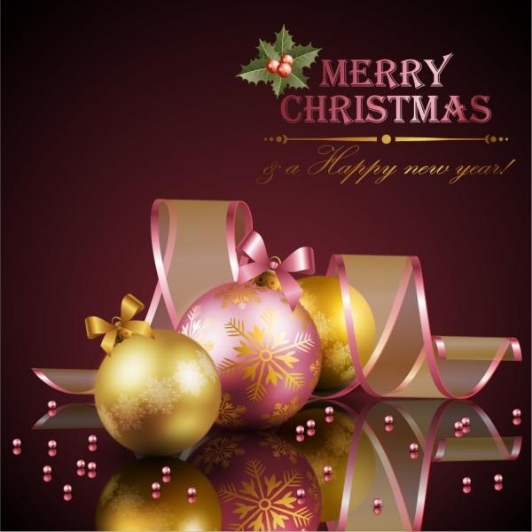 美しいクリスマスボールとリボンの背景 beautiful christmas decoration elements