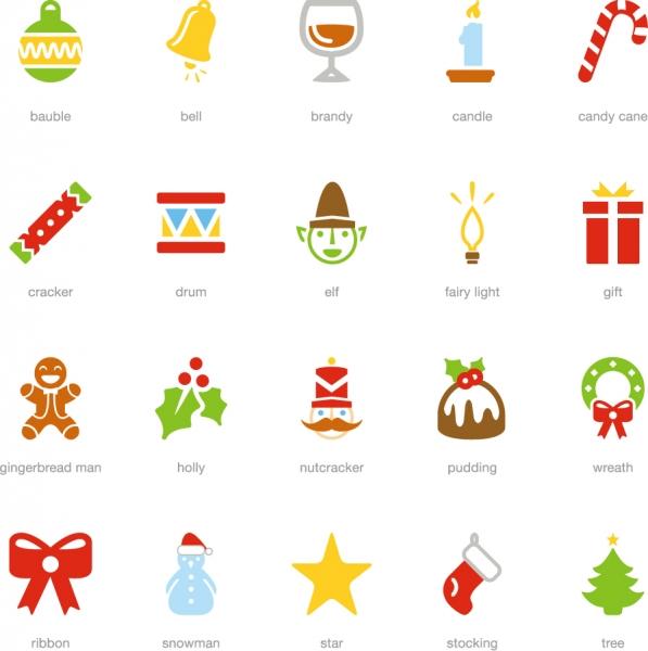 クリスマス関連のアイコン Christmas icon Santa Claus snowman tree cake