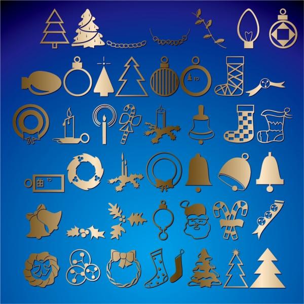 金色に輝くクリスマス飾りのアイコン christmas monochrome illustration