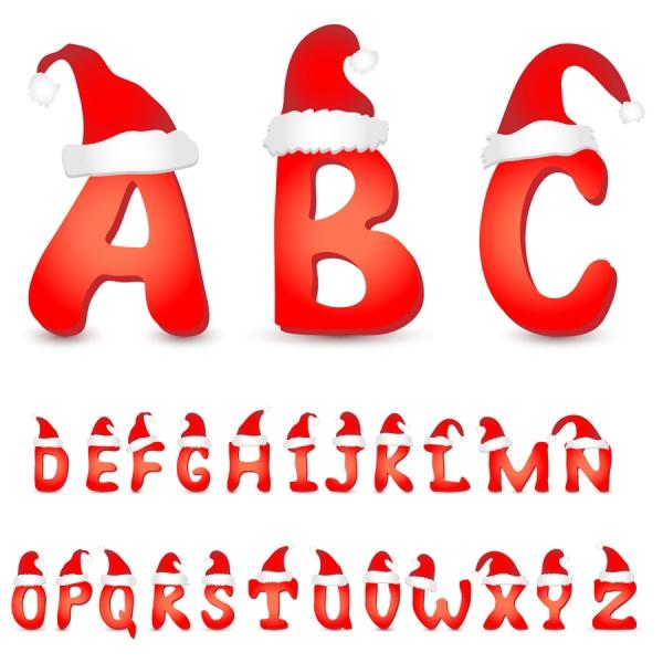サンタクロースの帽子を被ったアルファベット文字 Christmas lovely christmas letter