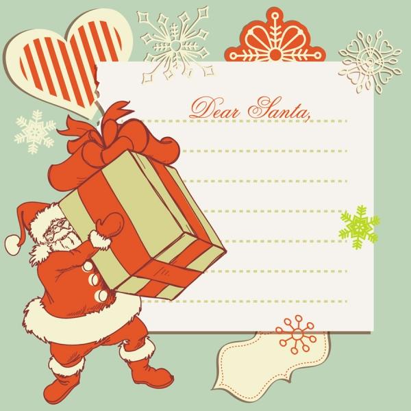 サンタクロースとクリスマスプレゼントのテキストスペース christmas elements illustration