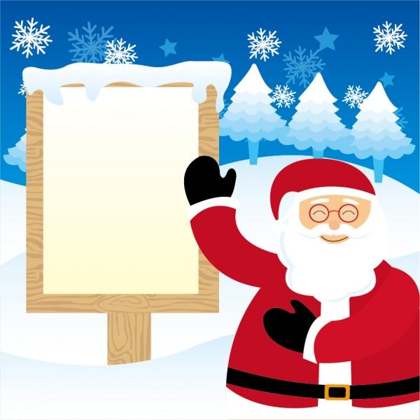 サンタクロースのお知らせ掲示板 Santa Claus snow christmas billboard