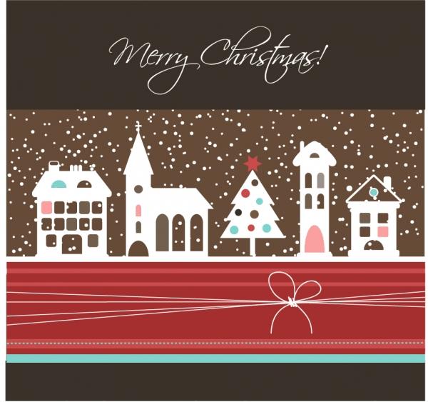 雪降るクリスマスの街並みの背景 cartoon christmas background