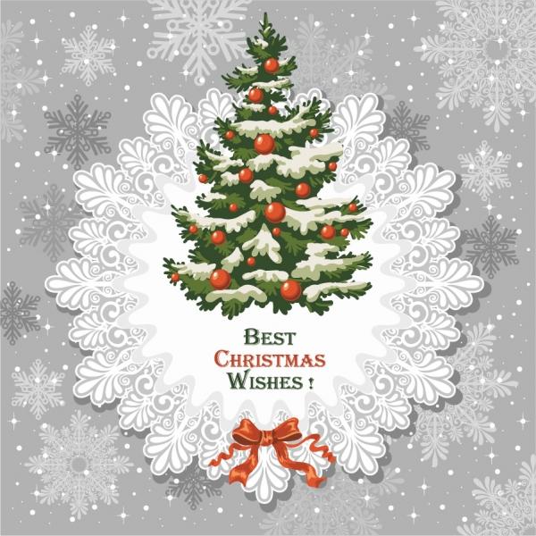 クリスマスツリーと雪の結晶の背景 beautiful christmas tree background