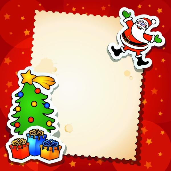 サンタクロースとクリスマスツリーの切り抜き Christmas trees gifts Santa Claus greeting cards