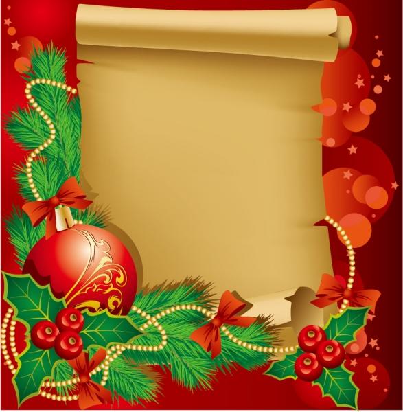 クリスマス飾りと古い巻紙のテキストスペース beautiful christmas border background