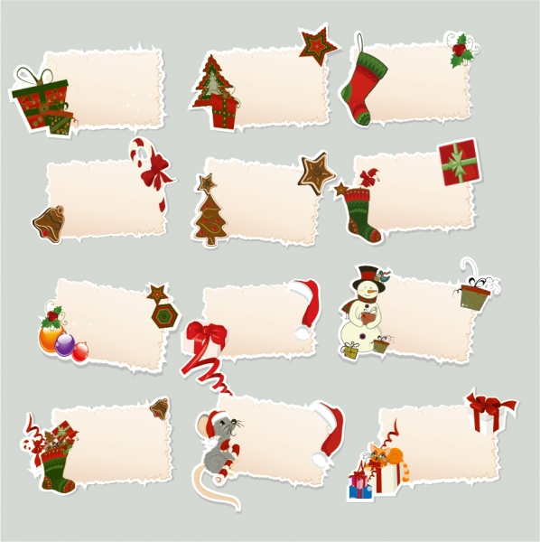 クリスマス飾りのテキスト用付箋 christmas elements stickers