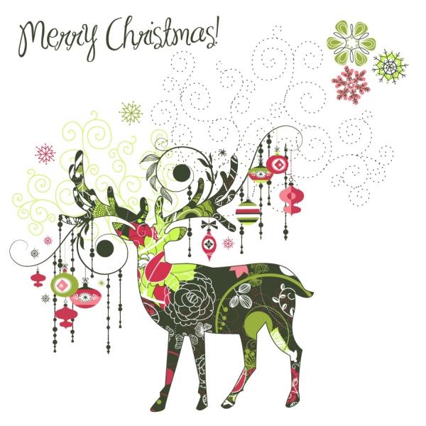 抽象的にトナカイを型どったクリスマス背景 beautiful christmas designs