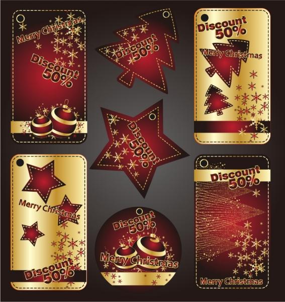 美しくデザインされたクリスマス飾りのラベル beautiful christmas labels banners