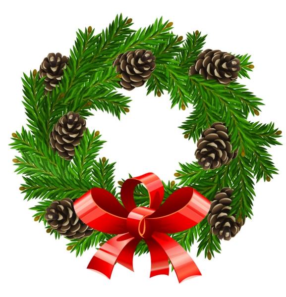 美しいクリスマスリースのイラスト素材 christmas wreath2