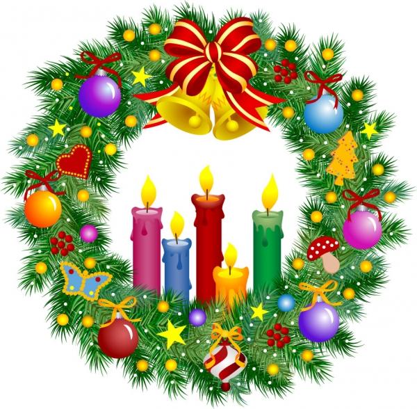 美しいクリスマスリースのイラスト素材 christmas wreath1