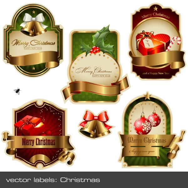 金色のリボンが美しいクリスマスラベル christmas vector labels